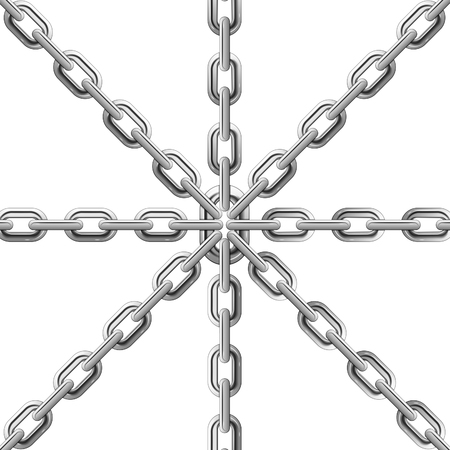 Steel chains connected by one link, isolated on white background, vector Stock Vector - 23659981