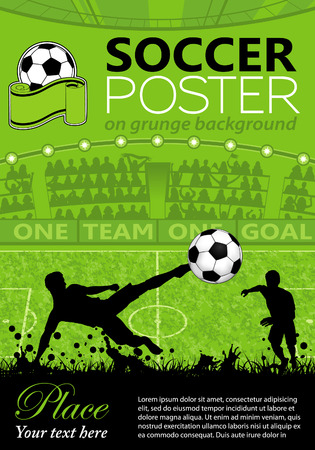 Soccer Poster with Players and Fans on grunge background, vector illustration Иллюстрация