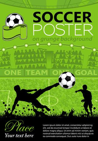 Voetbal Poster met spelers en fans op grunge achtergrond, vector illustration Stock Illustratie