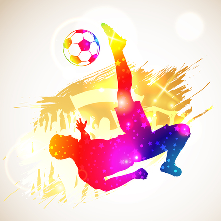 Bright Rainbow Silhouette Soccer Player and Fans on grunge background, vector illustration