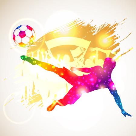 Heldere regenboog Silhouette Voetballer en fans op grunge achtergrond, vector illustratie Stock Illustratie
