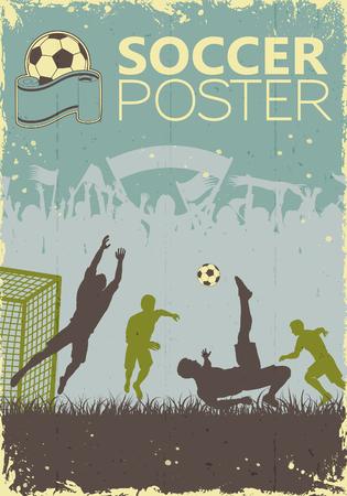 Fútbol Cartel con jugadores y los aficionados en colores retro en fondo del grunge, ilustración vectorial