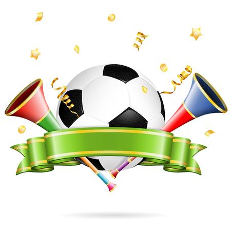 Voetbal Poster met voetbal, vuvuzela, lint en gouden wimpel, vector geïsoleerd op witte achtergrond