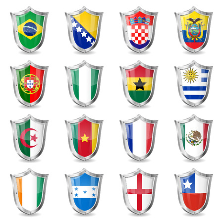 Soccer World Championship 2014 Collect Flags on Shields, isolated vector. Part 1 of 2.