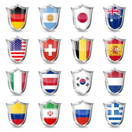 Soccer World Championship 2014 Verzamel Vlaggen op Shields, geïsoleerde vector. Deel 2 van 2.