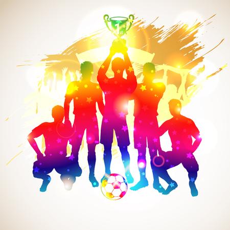 Bright regenboog Silhouetten voetballers met Cup en fans op grunge achtergrond, vector illustration