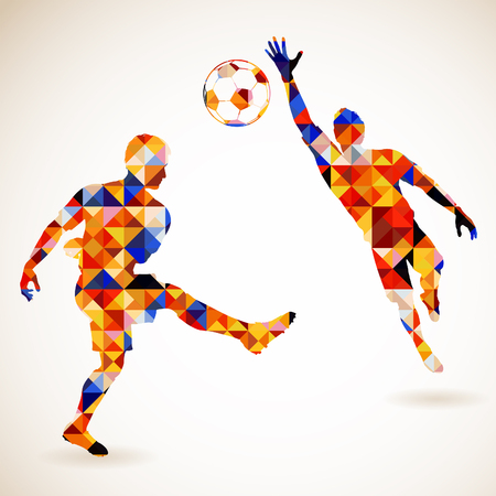 Silhouet Voetballer en Keeper in mozaïek patroon, vector illustratie