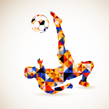 Silhouette Soccer Player and Ball in Mosaic Pattern, vector illustration