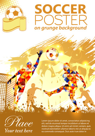 Soccer Poster with Players and Fans on grunge background, vector illustration  イラスト・ベクター素材