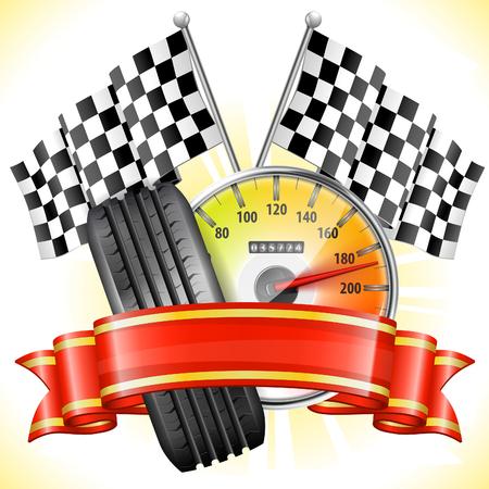 개념 경주 - 플래그와 속도계, 타이어 및 리본, 벡터 일러스트 레이 션 일러스트