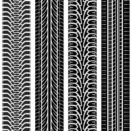 Verzamel Gedetailleerde Tire Tracks, vector op een witte achtergrond