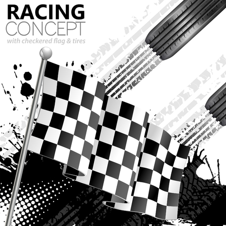 Racing Concept - Flags, Tires and Tracks, grunge vector background  イラスト・ベクター素材