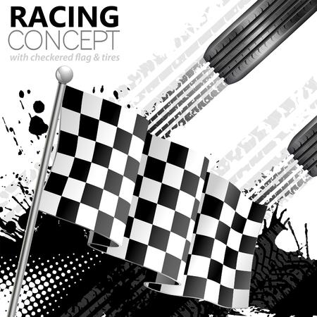 Racing Concept - Vlaggen, Banden en Tracks, grunge vector achtergrond