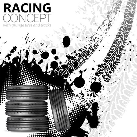Concetto Racing - Pneumatici e Canzoni, grunge sfondo vettoriale