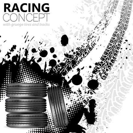 Racing Concept - Tires and Tracks, grunge vector background Illustration