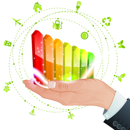 Hand with Energy Efficiency Rating and lot Environments Icons, vector isolated on white background