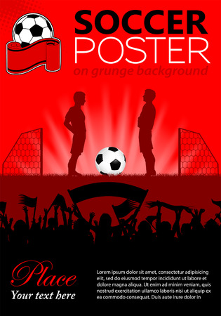 Soccer Poster with Players and Fans, vector illustration Illustration