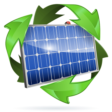 Green Energy Concept with Solar Panel and Recycling Symbol, vector isolated on white background Illustration