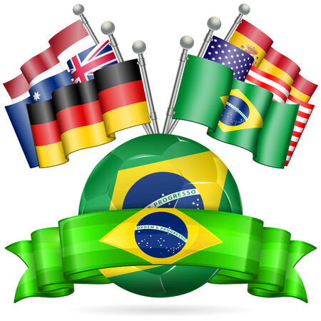 Soccer Poster with Soccer Ball, Flags, and Ribbon in Color Flag Brazil, vector isolated on white background Stock Vector - 27513504