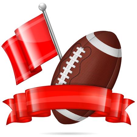 American Football Poster mit Ball, Flagge und Farbband, Vektor isoliert auf weißem Hintergrund Standard-Bild - 27513752
