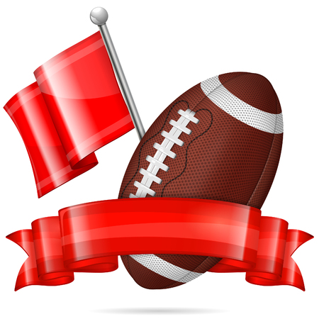 American Football Poster with Ball, Flag and Ribbon, vector isolated on white background