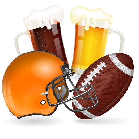 American Football Poster with Helmet, Ball and Glasses of Beer
