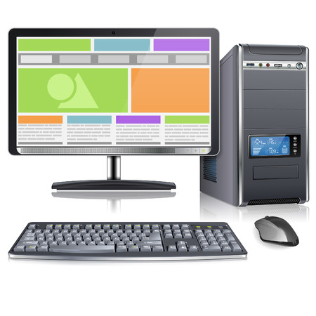 Cas d'ordinateur avec écran, clavier, souris et Responsive Web Design à l'écran, isolé sur fond blanc, illustration