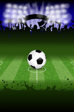 Poster van het Voetbal met Bal en Fans, vector