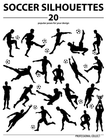 Set Silhouettes Soccer Players, Goalkeeper, Team Champion with Cup