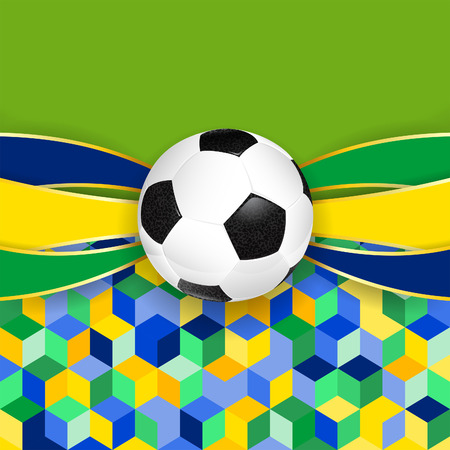 Soccer Ball with Ribbons and Mosaic Pattern in Color Flag Brazil Illustration