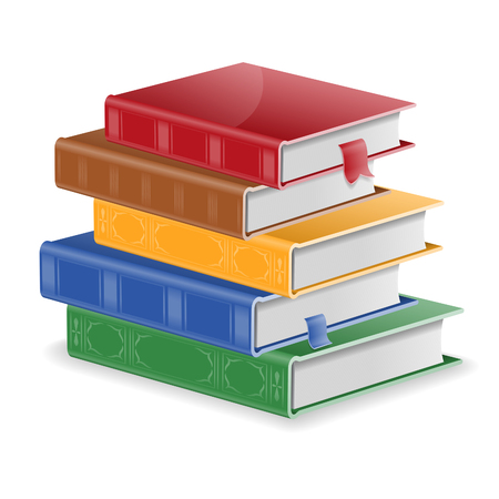 Back to School Concept - Stack of Colored Books with Bookmarks, isolated on white background. Easy to change color.