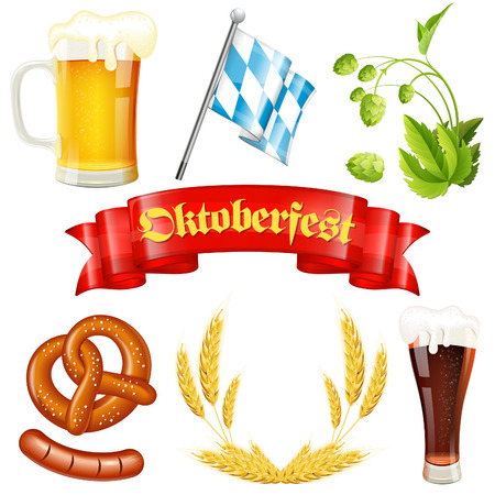 Oktoberfest Icons with Hops, Glass of Beer, Ears of Barley, Pretzel, Sausage, Bavarian Flag and Red Ribbon Vettoriali