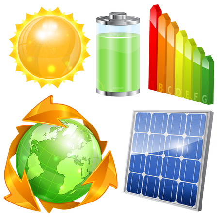 Green Energy Set - Solar Panel, Energy Efficiency Rating, Sun, Battery and Earth with Environmental Arrows