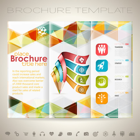 Business Brochure Design with Triangle Pattern, Pencil, Icons and Number Options Template. Иллюстрация