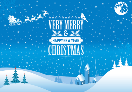 Kerst achtergrond met retro-label, Boom, Santa, huis, Goudvink. Vector Template voor dekking, flyer, brochure.