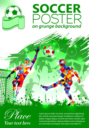 Soccer Poster with Players and Fans on grunge background, vector illustration Vettoriali