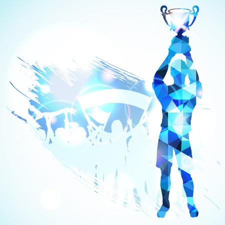 Silhouetten Voetballer met Trophy en ventilatoren in het Patroon van het Mozaïek op grunge achtergrond, vector illustratie.