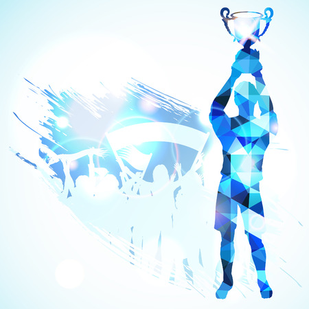 Silhouettes Soccer Player with Trophy and Fans in Mosaic Pattern on grunge background, vector illustration.