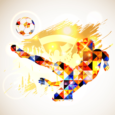 Silhouette Soccer Player and Ball in Mosaic Pattern with Fans on Grunge Background. Vector illustration.