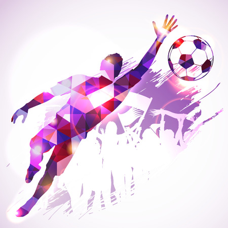 Silhouette Soccer Player Goalkeeper and Fans in Mosaic Pattern on grunge background, vector illustration.