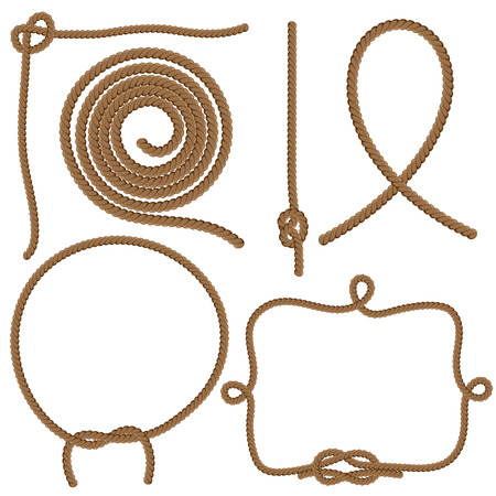 Set Ropes, Knots and Frames. Vector isolated on white background.