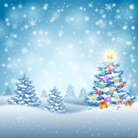 Kerst achtergrond met boom, kerstballen, geschenken, Candy en Star op besneeuwde achtergrond. Stock Illustratie