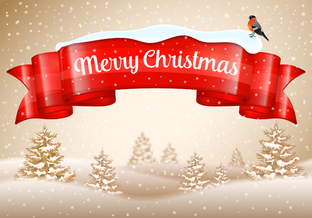 Christmas Background with Ribbon, Snowflakes, Tree and Bullfinch, vector illustration