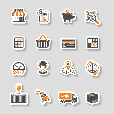 Internet Shopping, Delivery and Cargo Sticker Icon Set for e-commerce in two color Stock Illustratie