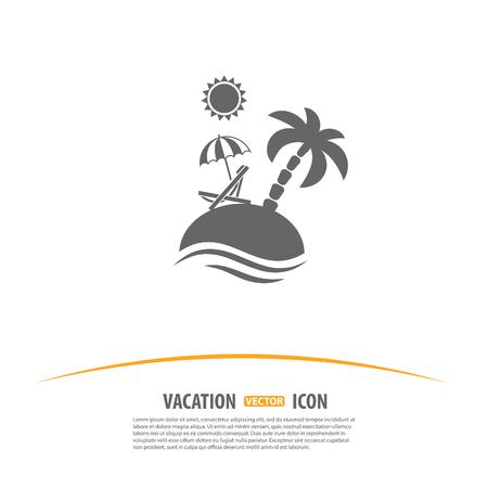 Reizen, Toerisme en Vakantie Logo Design Template. Het eiland met palmen, zon, paraplu en Beach Chair icoon.