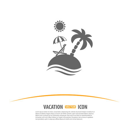 Travel, Tourism and Vacation Logo Design Template. Island with Palms, Sun, Umbrella and Beach Chair icon. Иллюстрация