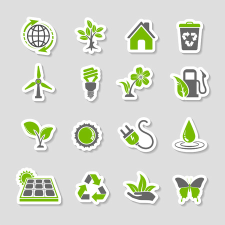 Collect Environment Icons Sticker Set with Tree, Leaf, Light Bulb, Recycling Symbol. Vector in two colours. Vectores