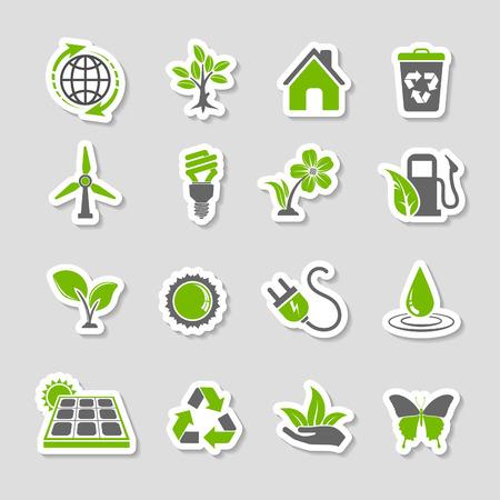 Verzamel Milieu Icons Sticker set met Boom, Leaf, Gloeilamp, Recycling Symbool. Vector in twee kleuren.