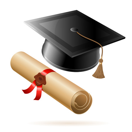 Education concept - Graduation Cap and Diploma. Vector isolated on white background. Ilustrace