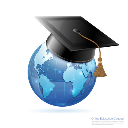 Online Education & E-Learning Concept with realistic 3D icons Earth and Mortarboard. Vector illustration isolated on white.